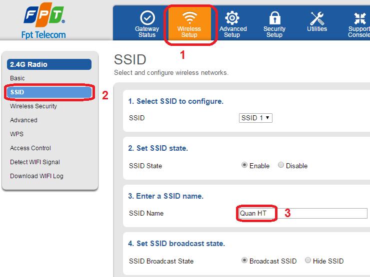 đổi pass wifi fpt bước 2