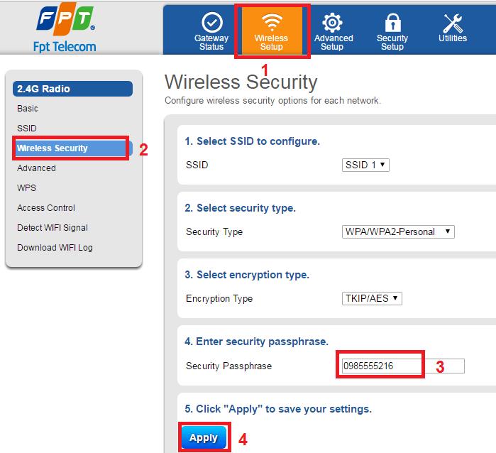 đổi pass wifi fpt bước 3