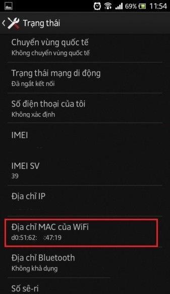 xem địa chỉ mac wifi trên android